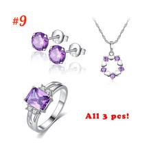 Moda Beiver juegos de joyas para mujer púrpura AAA + collar de circonita cúbica + pendiente + anillo Bijoux femenino(China)