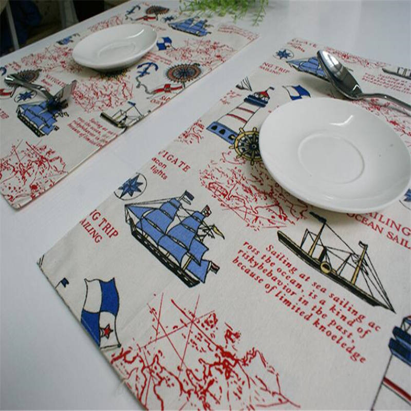 Free shipping Mediterranean style placemat creative cotton quality tablecloths comfortable table mats coasters(China (Mainland))