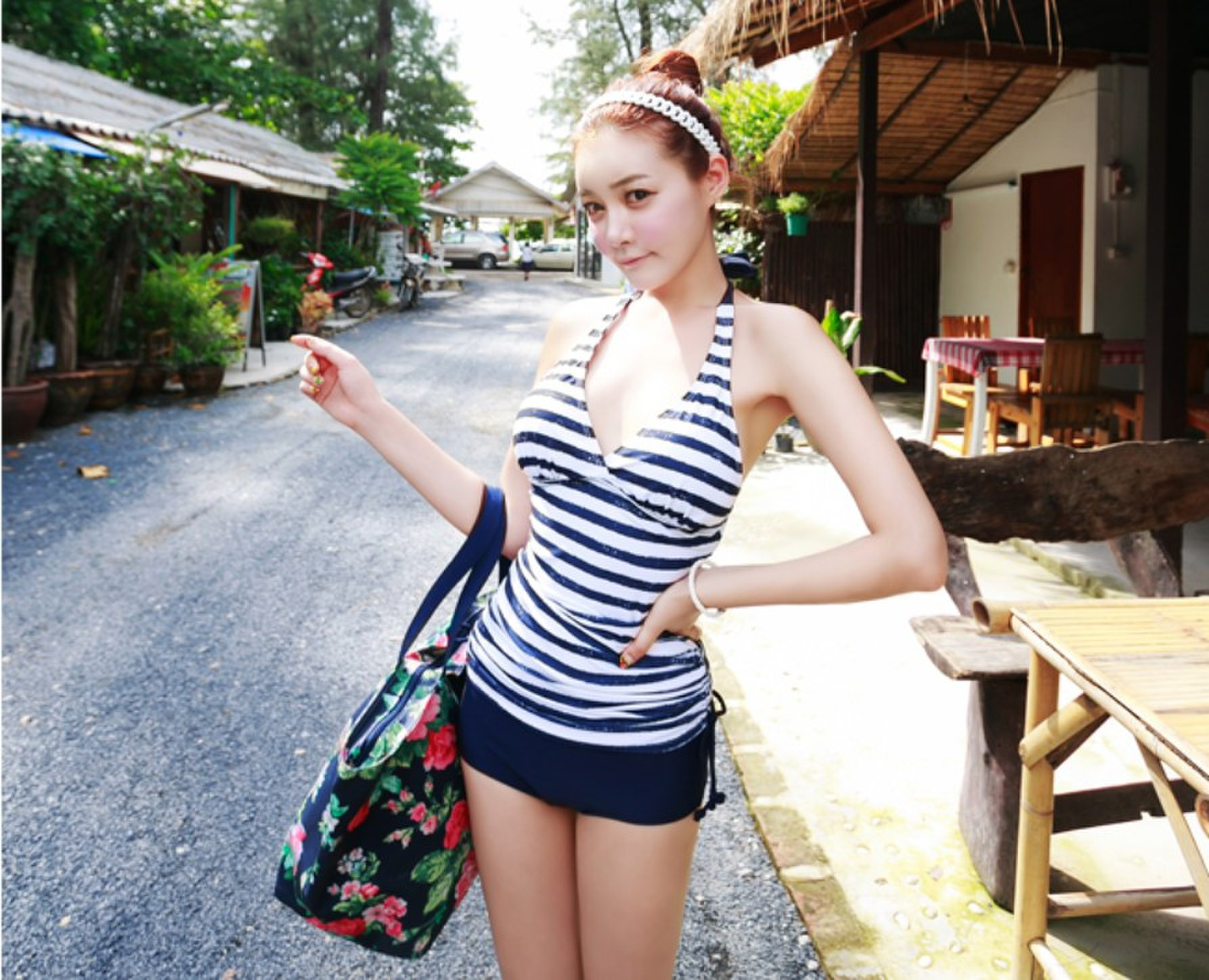 2014 women split tankini set swimwear fashion bathing suit cover ups