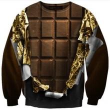 Hot sale 2015 New men Women's 3d funny print sweatshirt Black chocolate printed Pullover Sweats suit Hoodies harajuku crop Tops(China (Mainland))