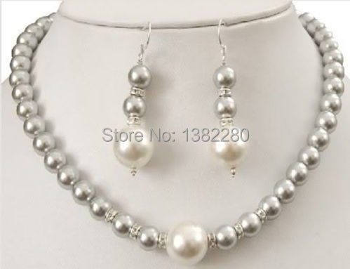 Free shipping!Wholesale price 2015 fashion sexy!8-12MM Grey Sea Shell Pearl Necklace +Earring AAA 2 piece/lot jewelry JT5593(China (Mainland))
