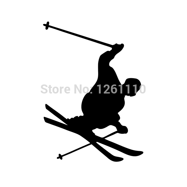 EURO OVAL VINYL CAR DECAL Wall Sticker Skier Skiing Jump Turn Skis Pole Male SUV Truck Decals Window Bumper(China (Mainland))
