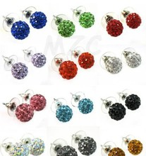 micro pave disco ball mixed 10mm stud Fashion Crystal Disco Ball Beads Silver Plated drop Shamballa Earrings Mix lot(China (Mainland))