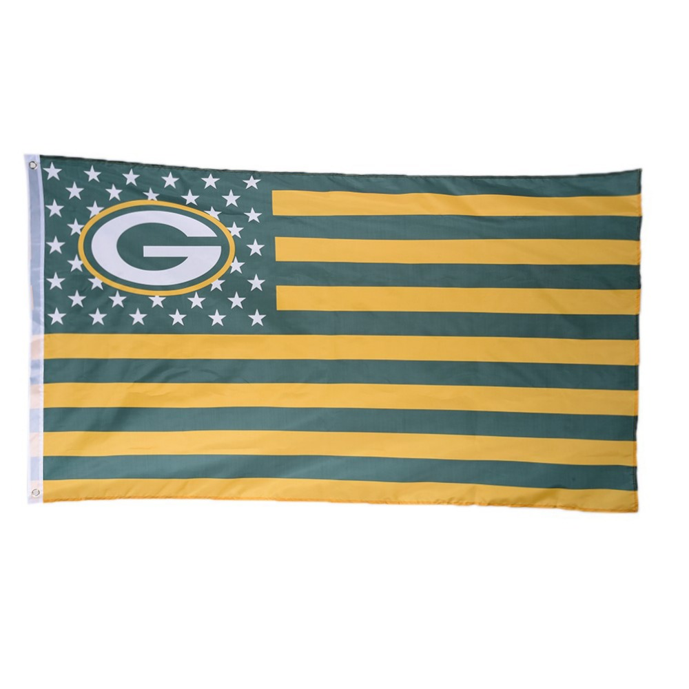 Stars and Stripes American Team Flag Polyester Banner Green Bay Packers USA for Outdoor Sports Decoration(China (Mainland))