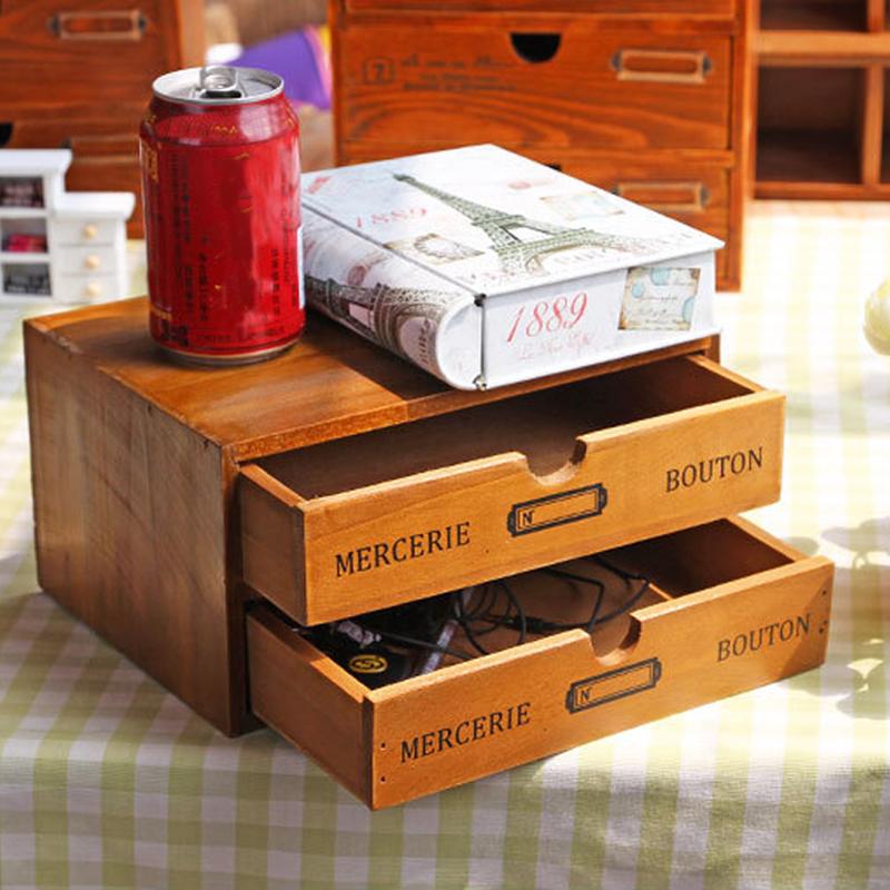 Classic Retro Wood Jewelry Box Zakka Vintage Drawer Organizer Creative Storage Boxes Home Rangement Caixa Organizadora SN056(China (Mainland))