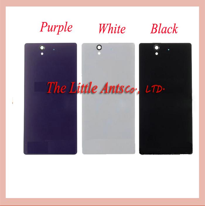 50Pcs/lot For Sony Xperia Z C6603 L36 L36h LT36 Rear Back Cover Battery Door Housing Glass + Sticker white black and purple