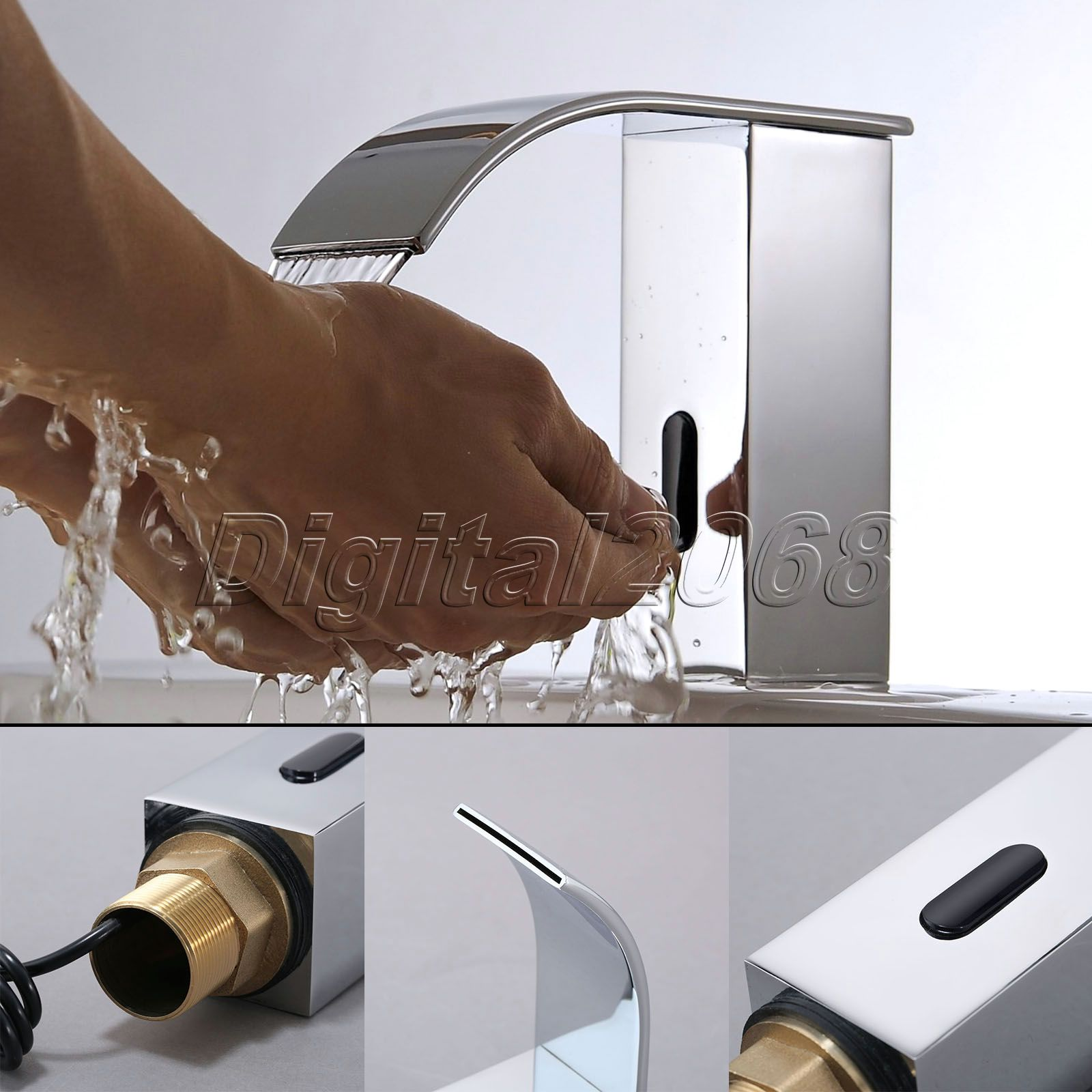 Hot Brass Deck Mounted Bathroom Faucet Automatic Hands Touch Cold Bathroom Faucet Sensor Hand Free Waterfall Chrome Mixer Tap(China (Mainland))