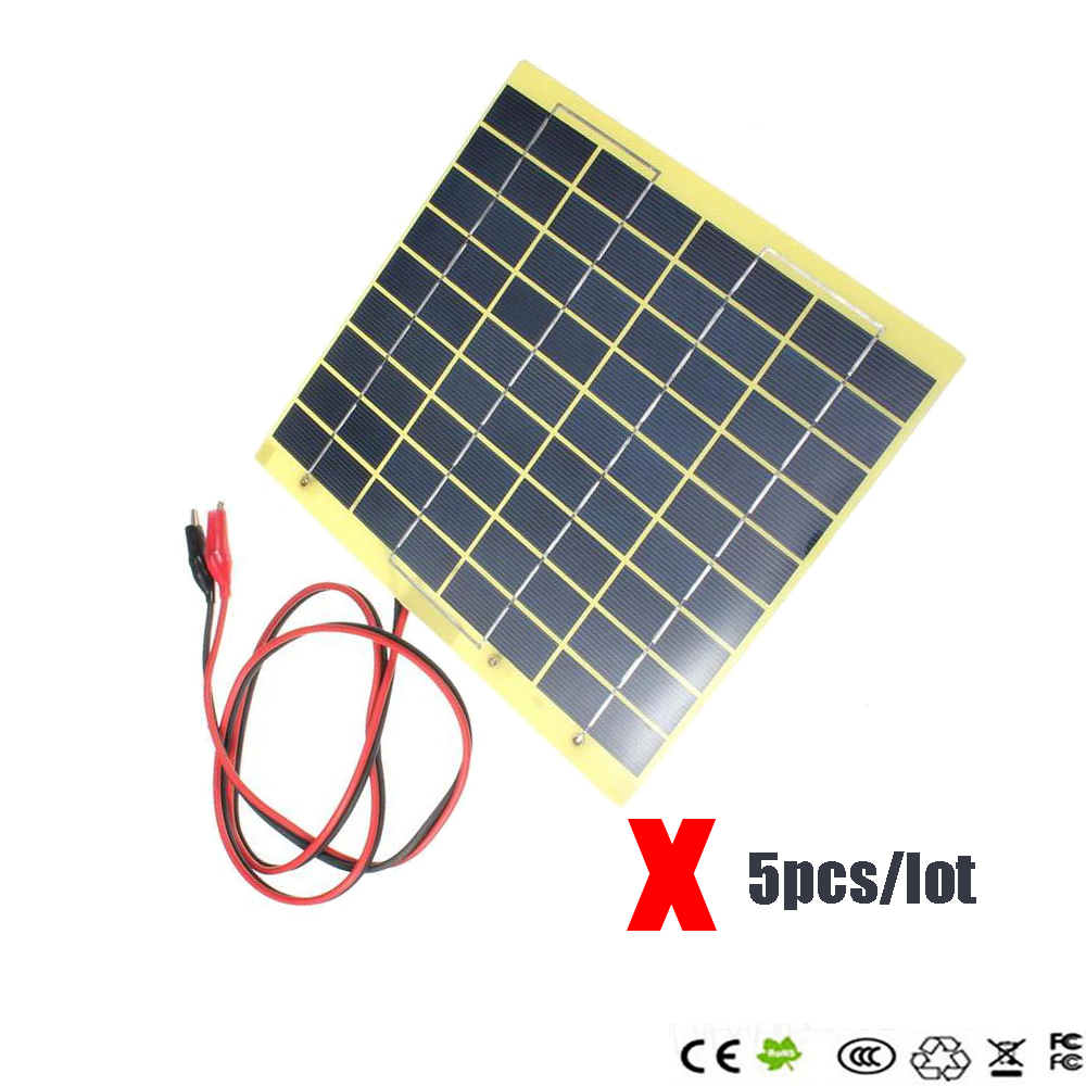 5pcs/lot Hot Sale 18V 5W Polycrystalline Silicon Solar Cell Solar Panel+Crocodile Clip Diy Solar System for Battery Charger(China (Mainland))