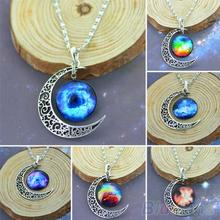 Classic Hot  Women Fashion Galactic Glass Cabochon Pendant Silver-Tone Crescent Moon Necklace  1GQ8(China (Mainland))