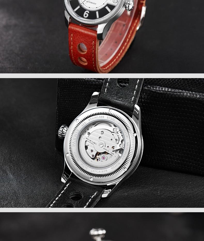 Parnis Gentel II Seriers Светящиеся Мужские Кожаный Ремешок Моды Большой Циферблат Двойной Календарь Автоматические Механические Часы Наручные Часы