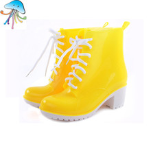 Fashion Women's Rain Boots Waterproof Jelly Color Female candy-Martin Ankle Rainboots  Water Shoes Rainshoes Multicolor