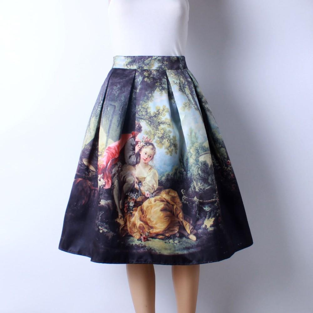 HTB1A3UBJFXXXXbyXpXXq6xXFXXXo - GOKIC 2017 Summer Women Vintage Retro Satin Floral Pleated Skirts Audrey Hepburn Style High Waist A-Line tutu Midi Skirt
