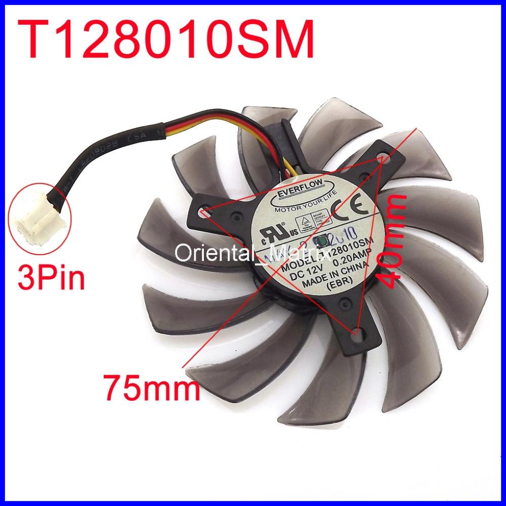 Гаджет  EVERFLOW  T128010SM 75mm 12V 0.20A 3Pin For Gigabyte N470SO N580UD N580SO GTX460 GTX470 GTX580 HD5870 Graphics Card Cooling Fan None Компьютер & сеть