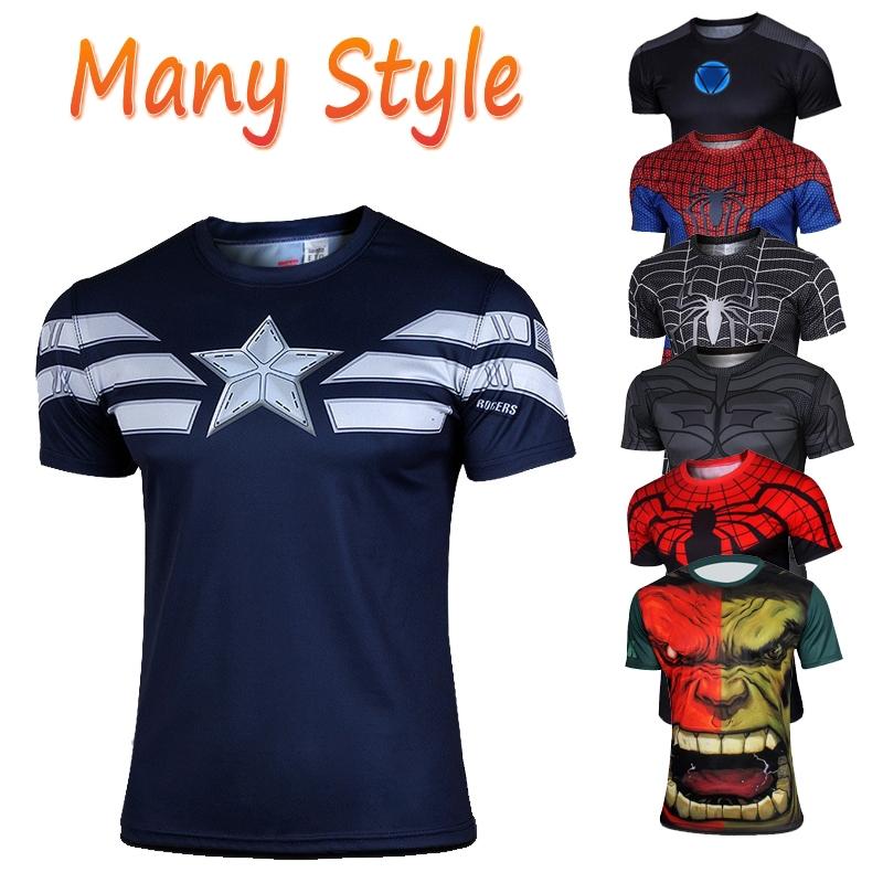 2014 new men's fashion short sleeve T-shirt poison spider-man superhero captain America batman iron man T-shirt men clothes(China (Mainland))