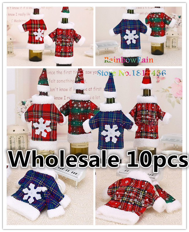 10PC/Lot Christmas Santa Claus Coat Wine Bottle Cover Set For Home Decoration Xmas Ornament Fashion Beer Bottle Cover Navidad(China (Mainland))