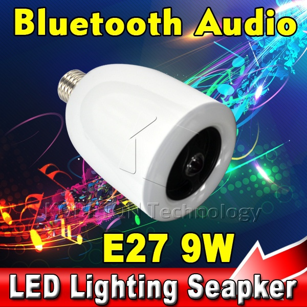 AK NEW E27 9W LED Lamp Lighting Brightness Dimmable , Wireless Remote Bluetooth Audio Speaker Music Player from Mobile Phone(China (Mainland))