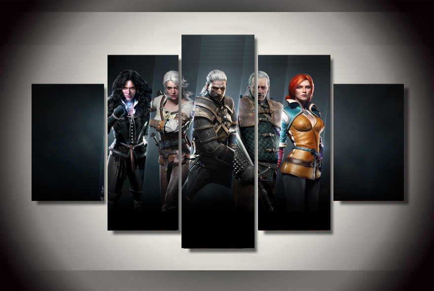 Hd printed the witcher wild hunt game painting on canvas for Poster decoratif