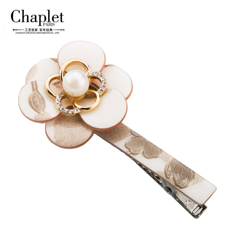 Chaplet Brand 2016 High Quality Pearl Tiara Elegant Hair Accessories for Women Alligator Clips Hair Clip Flower Free Shipping(China (Mainland))