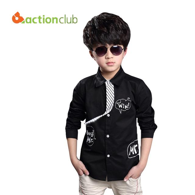 Многоцветный 2016 новое поступление мальчики свободного покроя блузка с длинным рукавом мальчиков с галстук детей мода блузка дети одежда KU577