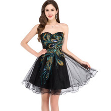 2016 New! Sexy Tulle Ball Gown Distinctive Embroidery Peacock Pattern Black Party Gown Short Cocktail Dresses Prom Dress 4975(China (Mainland))