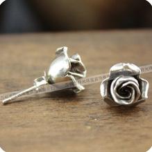 925 Sterling Silver Rose Earrings small rose flower stud  earrings handmade 10mm 1pair(China (Mainland))