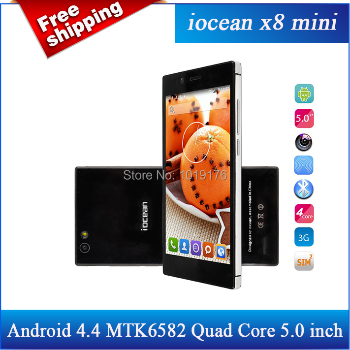 Case+Films)gift!Original iOcean X8 mini MTK6582 Quad Core 1.3GHz Android 4.4 CellPhone 5.0 inch 1GB+16GB 8.0MP GPS 3G WCDMA/Avil(China (Mainland))