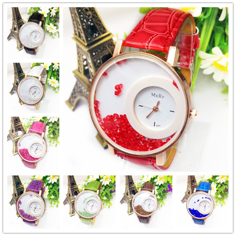 2015 crazy sale 8 colors New Arrival Leather Strap Watch Women Rhinestone Watch Women Dress Watches leather retro watch(China (Mainland))