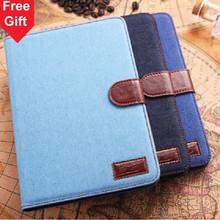 Mini2 Elegant Jean Fabric + PU leather Card holder stand Smart case cover for Apple ipad mini / mini 2 Protection Free shipping(China (Mainland))