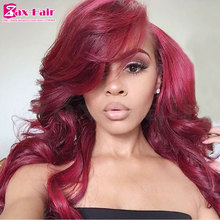 New style hair extension wig wavy lace front wig red wig #99j natural hair long virgin human hair fashion 130% density hot sale