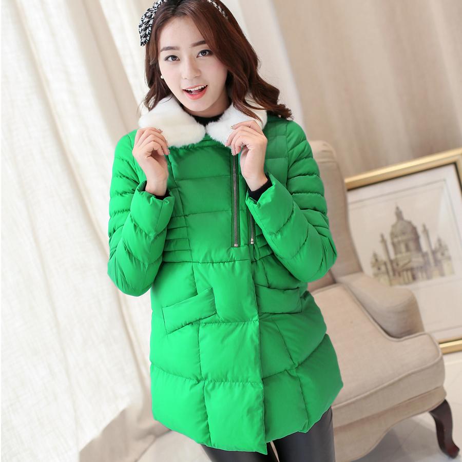 Фотография HOT~Winter maternity clothing fashion Double-zipper fur collar maternity cotton-padded jacket thick warm pregnant women coat