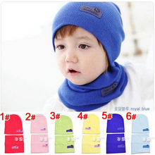 Kids Fashion Winter Cap Baby Girls/Boys Hat Warm Hat Children Hat and Scarf set 1set H346