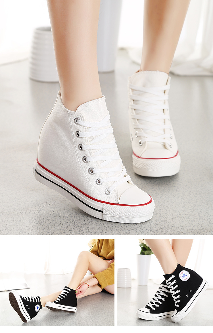 Womens 2016 Casual Wedge Hidden Heels High Top Fashion Sneakers Shoe