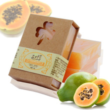 100g Natural Organic Herbal Green Papaya Whitening Handmade Soap Lightening Skin Remove Acne Moisturizing Cleansing Bath Soap(China (Mainland))