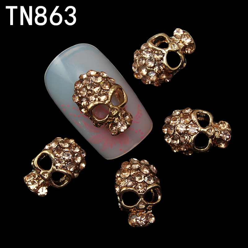 10pc Alloy Glitter 3d Nail Art Skull Decorations with Rhinestones,Alloy Nail Charms,Jewelry on Nails Salon Supplies TN863(China (Mainland))