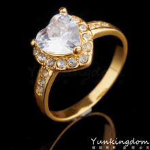 Three color rings free shipping18K Gold plated fill Gorgeous Rhinestone fashion Romantic Love rings for women