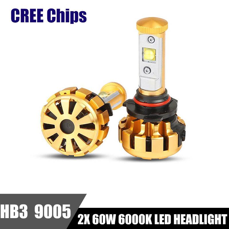 2x CREE Chips 9005 HB3 LED Headlight 60W 6000LM 6000K White Car Headlights Bulb DRL Driving Fog Lamp Auto Front Light IP68(China (Mainland))