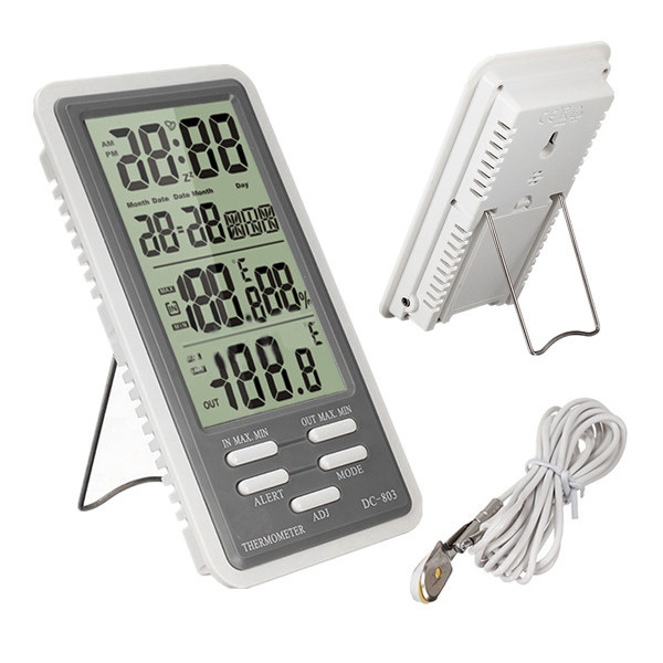 -50 to 90 Degrees Big LCD Screen ABS Digital Indoor Outdoor Temperature Meter Thermometer Hygrometer Humidity Gauge Alarm Clock(China (Mainland))