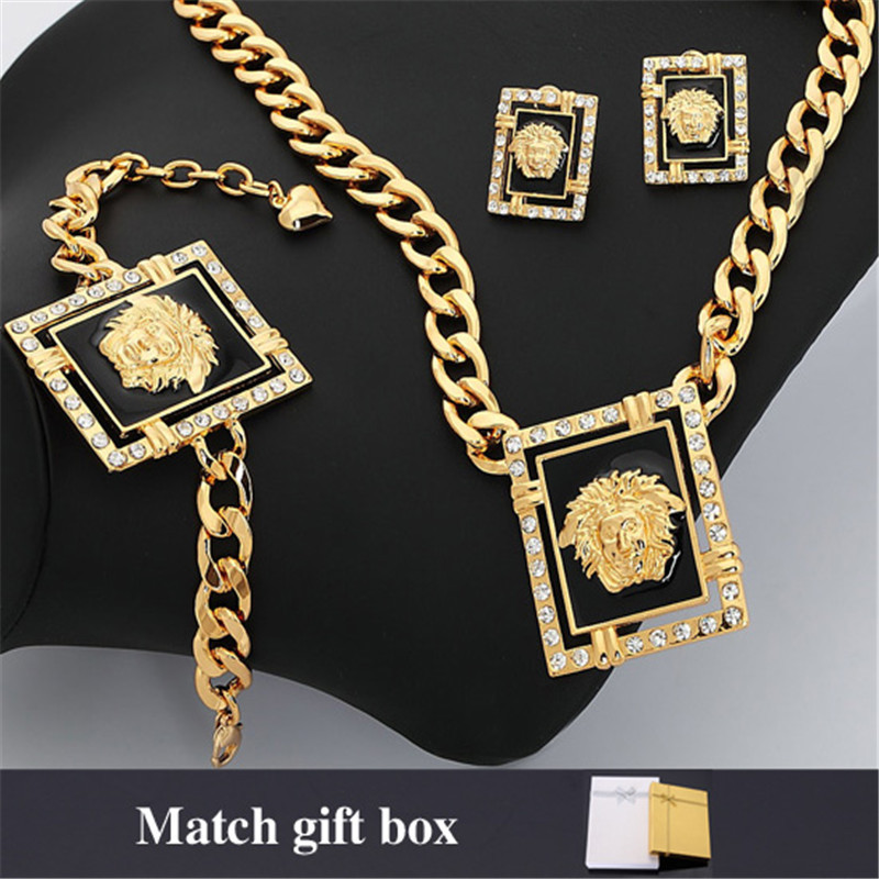 Dubai Jewelry Set Women Statement Trendy 18K Real Gold/Platinum Plated Lion Head Earrings Bracelet Necklace Set African INEH1205(China (Mainland))