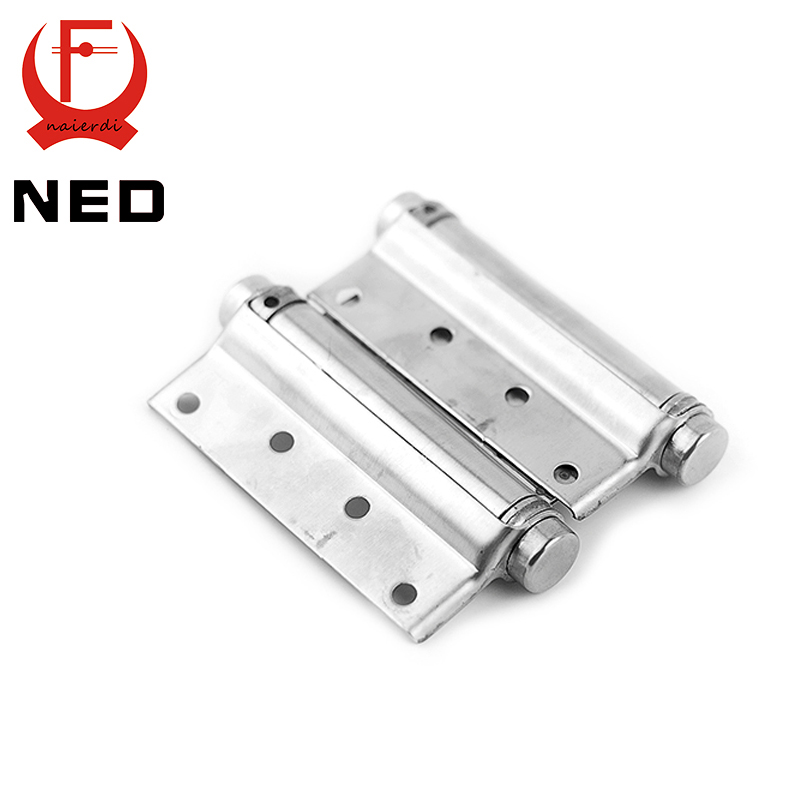 2PCS NED-5107 3 Inch Double Action Spring Door Hinge Stainless Steel Rebound Hinge For Cafe Swing Western Furniture Hardware(China (Mainland))