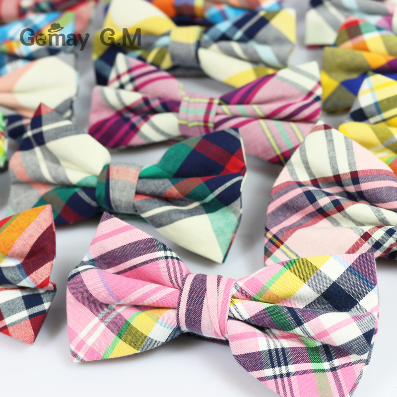 England Style Men Bow ties For Party Fashion Classic Cotton Plaid Pattern Men Bowtie Candy Color Casual Male Cravat(China (Mainland))