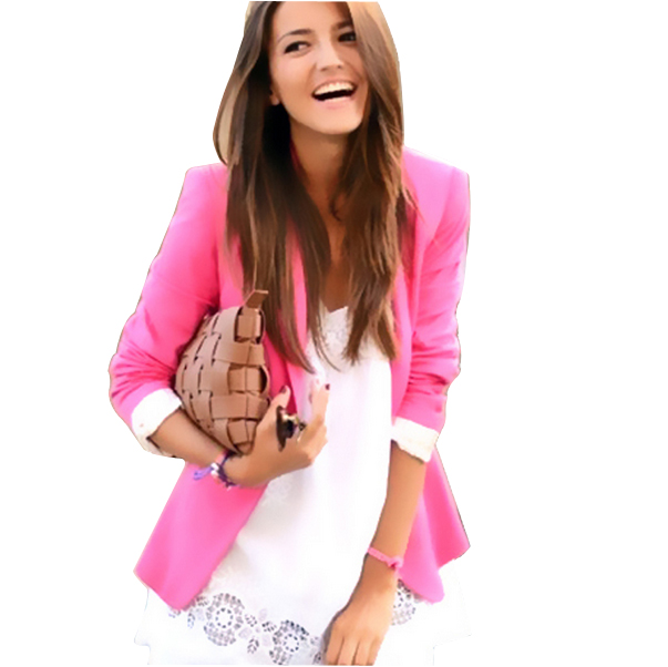 New Spring 2014 Tops ZA blazer women candy coat jacket Foldable outerwear coats jackets one button basic jacket suit blazersОдежда и ак�е��уары<br><br><br>Aliexpress