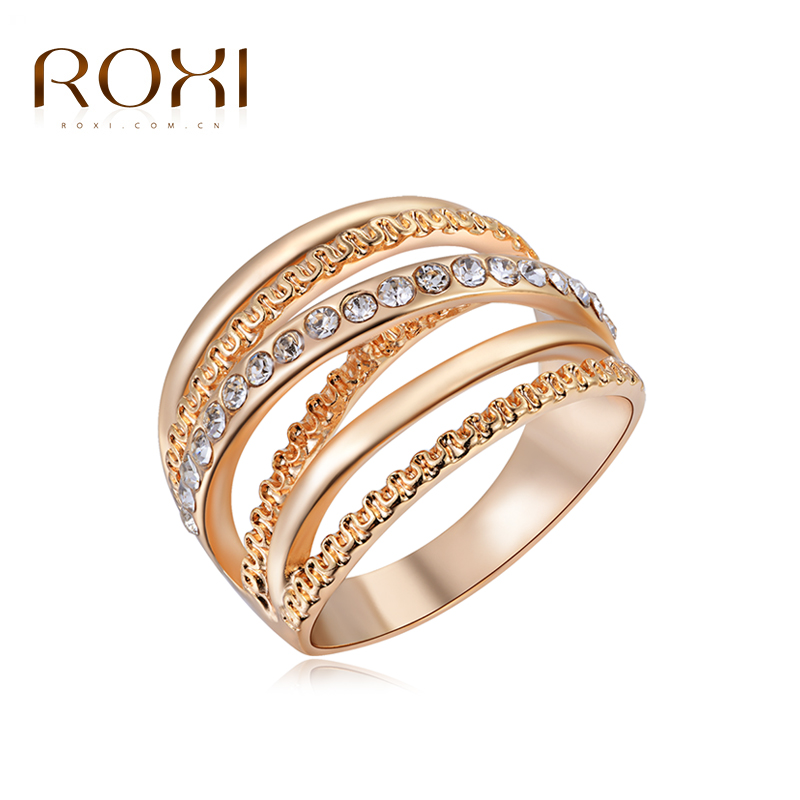 ROXI Brand 18K Rose Gold Plated Elegant Rhinestone Zirconia Jewelry Finger Rings for Women Wedding Band Classic Rings Size 6 7 8(China (Mainland))