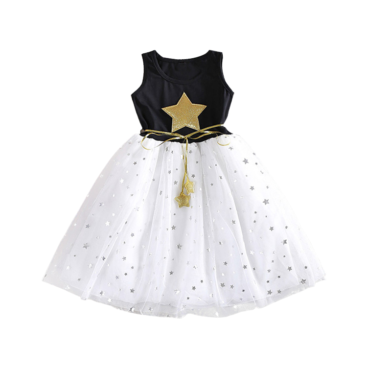 Retail New 2017 Summer Girl Dresses Children's Clothing Stars Baby Girls Clothes Princess Party Kids Costume Vestidos Infantil(China (Mainland))