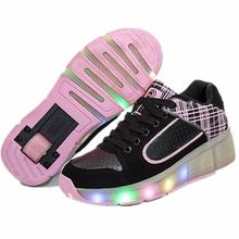 2016 новый Heelys детей обувь мальчик и девочка автоматический из светодиодов освещенные мигающий роликовые коньки дети мода кроссовки с колесным