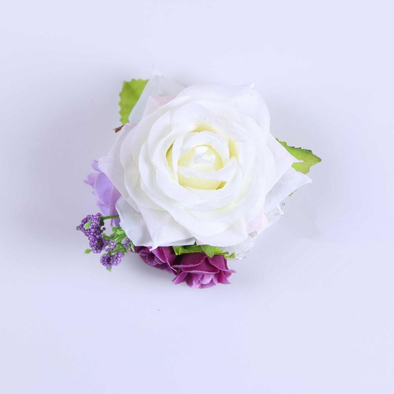 New 10pcs Valentine Fabric Prom Wedding Church Decor Artificial Rose Boutonniere Corsage Wrist Flower Bracelet White FL1732(China (Mainland))
