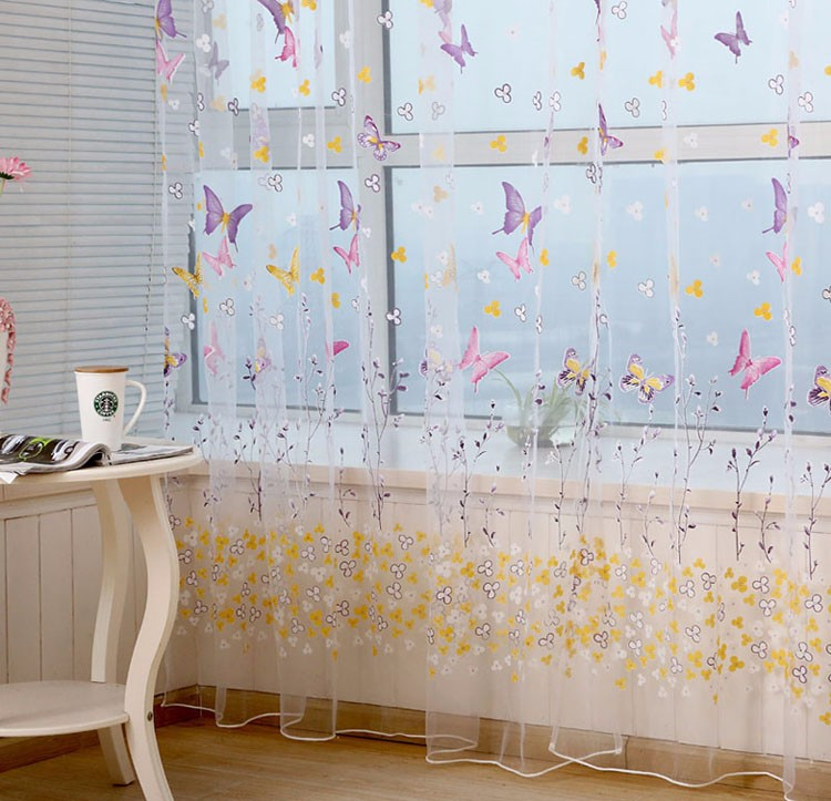 Butterfly Print Pattern Window Voile Curtains For Girls Bed Room 2 Colors 100 *200 CM Valances Tulle Drapes Curtains VBJ74 P63