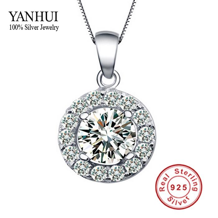 Promotion!!! New Listing 100% Silver CZ Diamant Pendant Necklace Zircon Necklace for Women 925 Silver Pendant Necklace BKN003(China (Mainland))