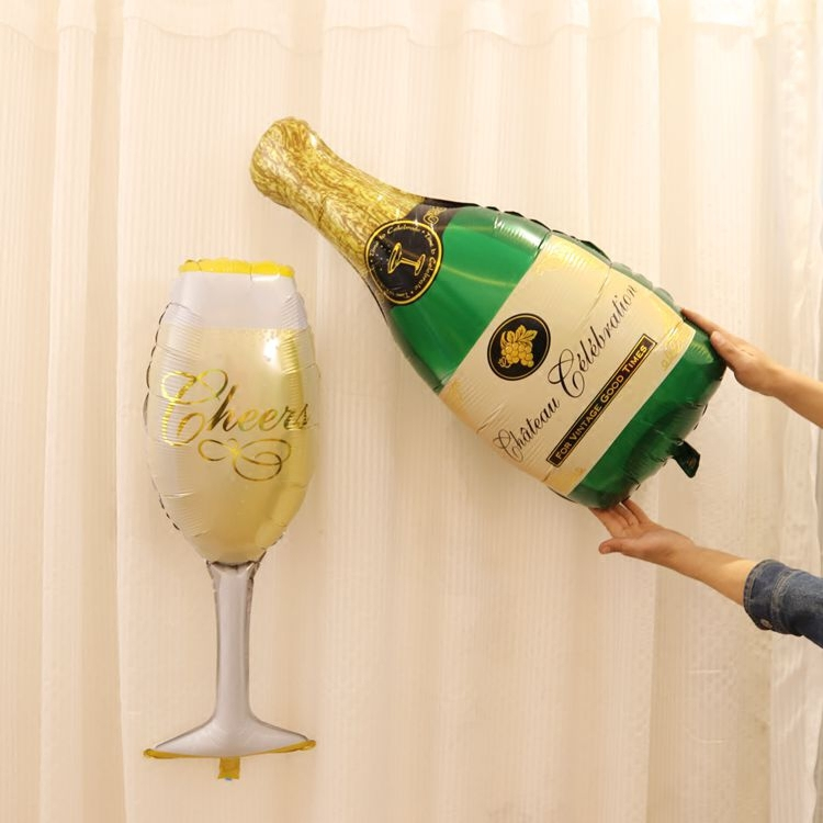 CHEERS CHAMPAGNE Bottle And Glass Foil Balloon New Years Eve Decor Photo Booth Prop Gold and Champagne Backdrop Pop Clink Fizz(China (Mainland))