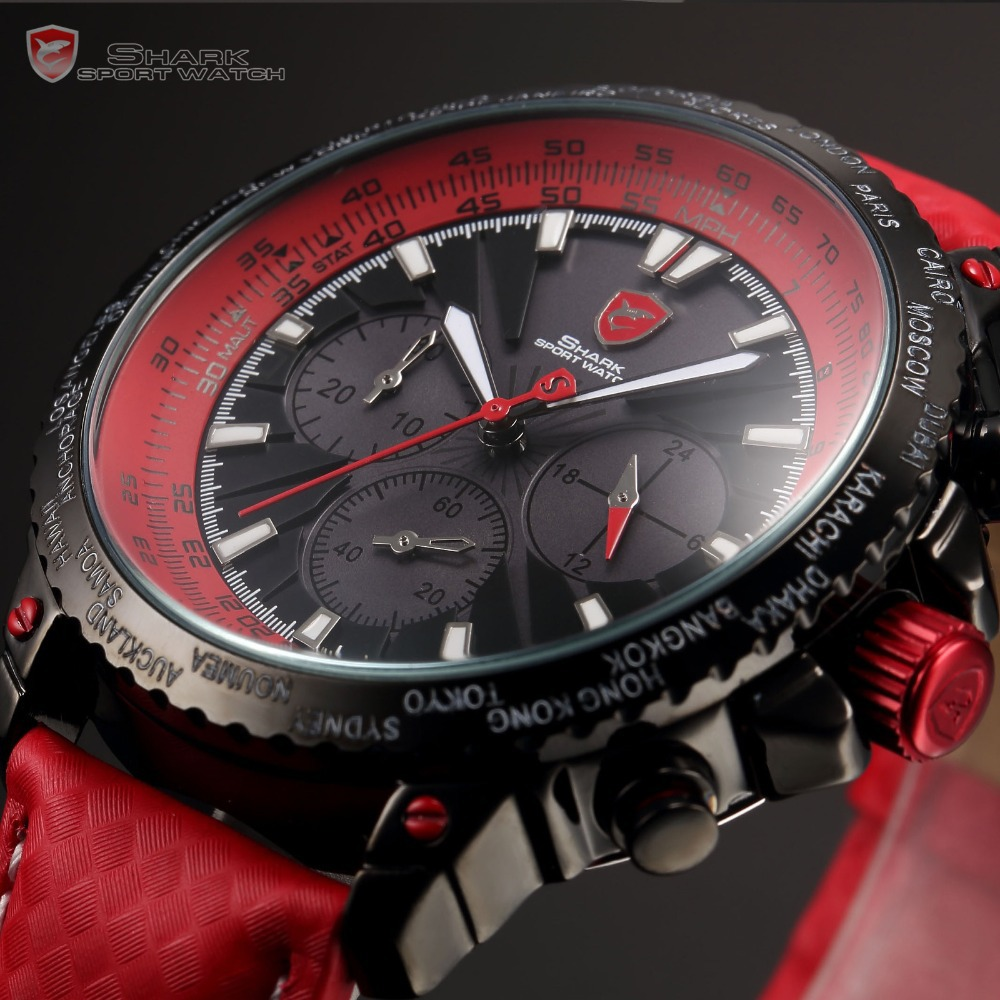 New Arrival Original Blacktip Shark Chronograph 24 Hours Display Red Leather Band Men's Fashion Quartz Sport Watches/SH211(China (Mainland))