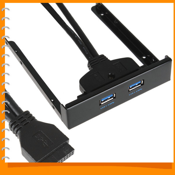 USB 3.0 Hub Front Panel Super Speed 2 Port Expansion Bay to 20 Pin USB Bracket Cable for Computer PC(China (Mainland))